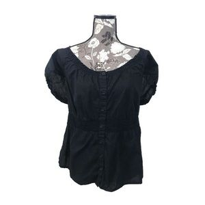 NWOT MERONA black waist cinched shirt